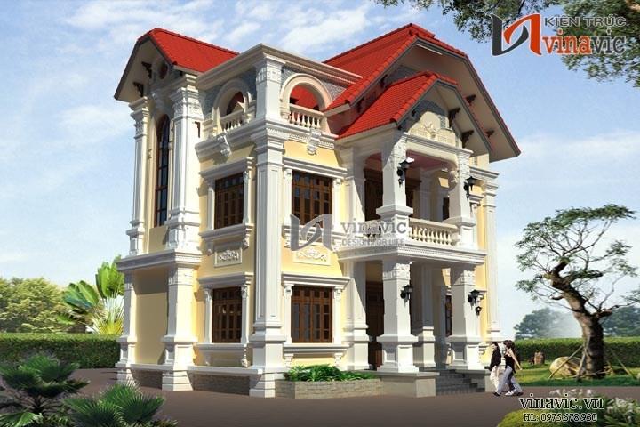 Nhà biệt thự đẹp 3 tầng theo phong cách cổ điển BT1411