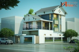 Mẫu thiết kế nhà biệt thự đẹp 3 tầng phong cách hiện đại BT1493