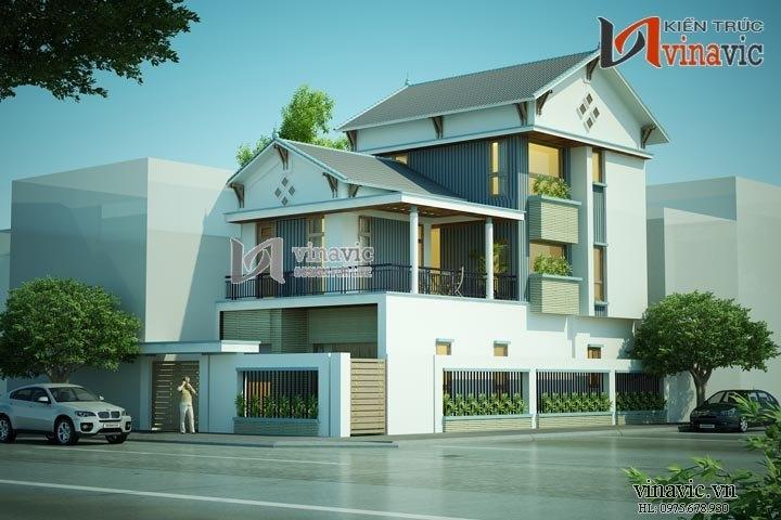 Nhà phố mặt tiền 8m 3 tầng 100m2 thiết kế hiện đại ở Sơn La BT1493