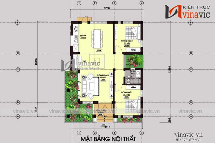Nhà biệt thự 1 tầng hình vuông phong cách hiện đại BT1502