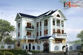 Mẫu thiết kế nhà biệt thự hình chữ L 3 tầng đẹp với tone màu sáng BT1520