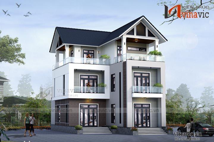 Mẫu nhà biệt thự chữ L 3 tầng đẹp và hiện đại BT1523