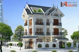 Mẫu thiết kế biệt thự đẹp 3 tầng tone màu trắng thanh lịch BT1526