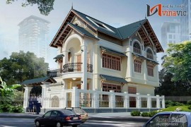 Mẫu thiết kế nhà biệt thự đẹp 3 tầng phong cách cổ điển BT1529