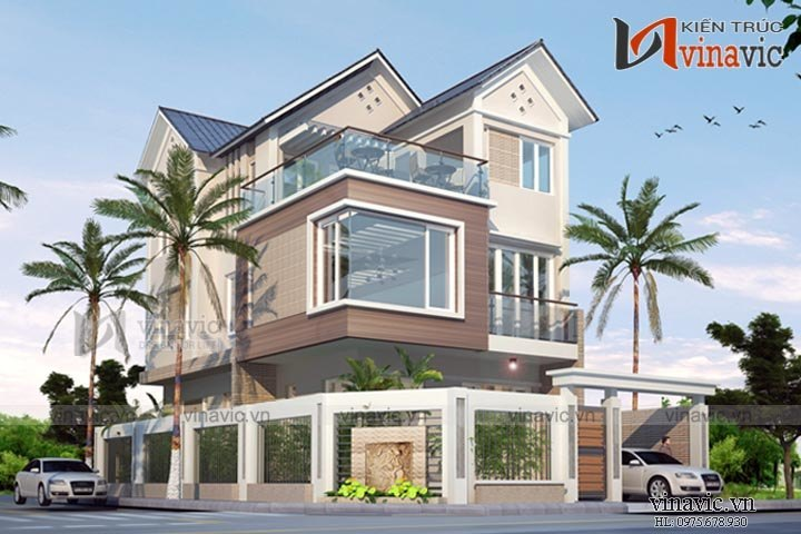 Mẫu thiết kế nhà biệt thự 3 tầng hiện đại cùng vật liệu kính  BT1530