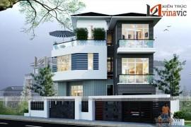 Mẫu thiết kế biệt thự đẹp 3 tầng cho diện tích đất đặc biệt BT1619