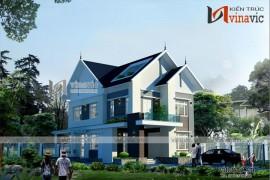 Mẫu biệt thự đẹp 3 tầng hiện đại ấn tượng với sân vườn rộng BT1620
