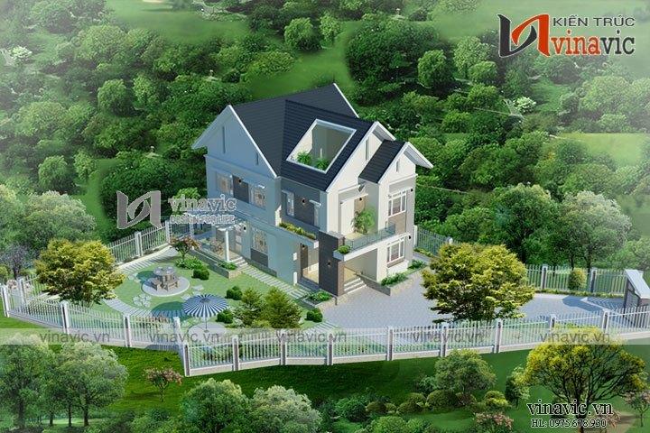 Biệt thự 140m2 4 phòng ngủ 3 tầng hiện đại  sân vườn rộng BT1620
