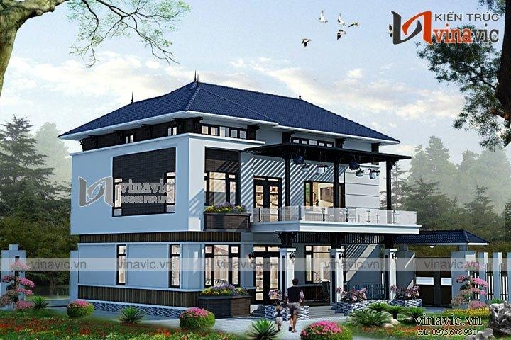 Mẫu thiết kế nhà biệt thự đẹp 3 tầng phong cách hiện đại BT1626