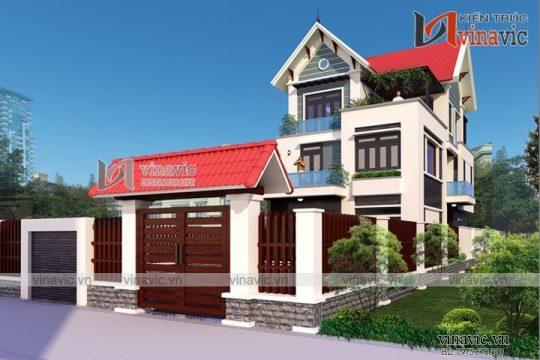 Mẫu nhà 3 tầng 120m2 4 phòng ngủ 1 phòng khách 1 phòng thờ và gara oto BT1627