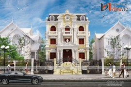 Mẫu biệt thự 3 tầng kiểu Pháp cổ điển sang trọng ở Thanh Hóa BT1628