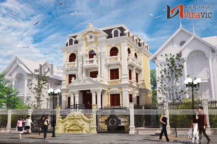 Mẫu thiết kế nhà biệt thự đẹp 3 tầng cổ điển sang trọng BT1628