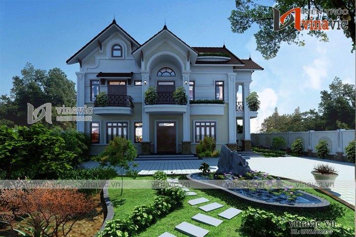 Nhà biệt thự 3 tầng 2 mặt tiền 120m2 5 phòng ngủ ở Vĩnh Phúc BT1630