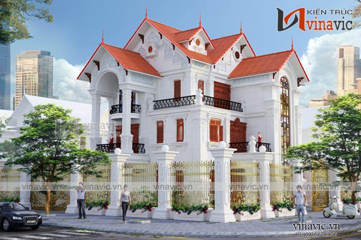 Mẫu thiết kế nhà biệt thự đẹp 3 tầng 2 mặt tiền BT1635