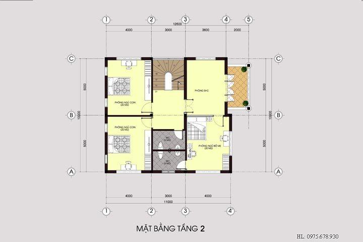 Mẫu thiết kế nhà biệt thự đẹp 3 tầng phong cách tân cổ điển BT1404
