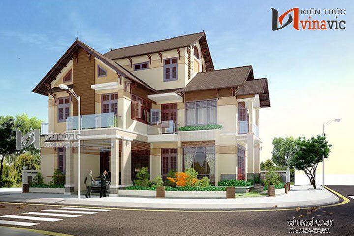 Mẫu thiết kế nhà biệt thự đẹp 3 tầng BT1424