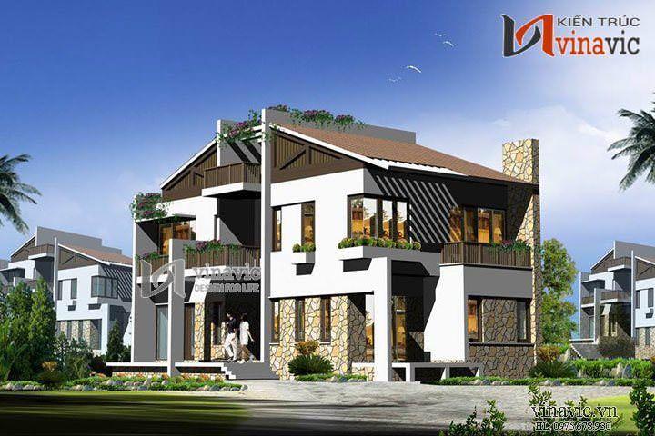 Biệt thự đẹp 3 tầng thiết kế độc đáo và lạ mắt BT1427
