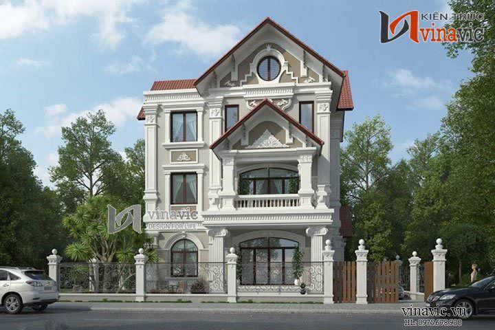 Thiết kế nhà 3 tầng 140m2  kích thước 10x14m mặt tiền 10m BT1428