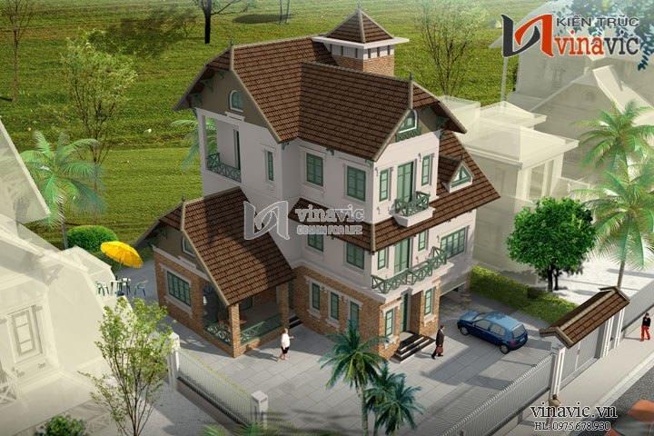 Mẫu thiết kế nhà biệt thự đẹp 3 tầng kiến trúc Pháp cổ BT1429