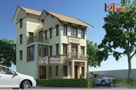 Mẫu nhà biệt thự đẹp 3 tầng tone màu vàng nhạt BT1430