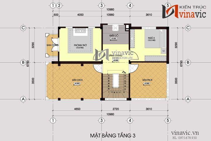 Mẫu thiết kế nhà biệt thự đẹp 3 tầng hiện đại BT1434