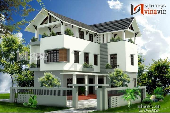 Mẫu nhà biệt thự chữ L đẹp 3 tầng phong cách hiện đại BT1435