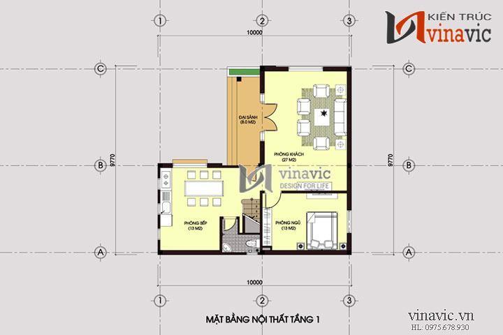 Mẫu nhà 3 tầng chữ l 100m2 phong cách hiện đại màu trắng tinh khôi BT1435