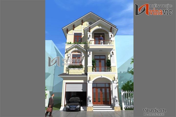 Thiết kế nhà 3 tầng 100m2 4 phòng ngủ dạng biệt thự phố kiểu tân cổ BT1441