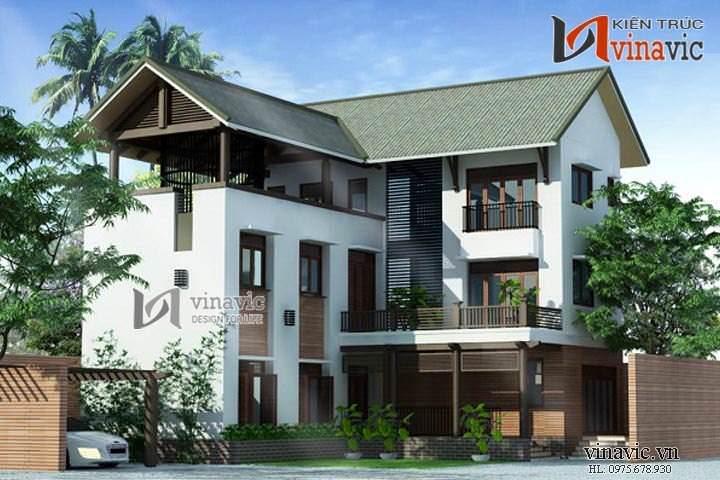 Mẫu nhà biệt thự đẹp 3 tầng phong cách hiện đại BT1443