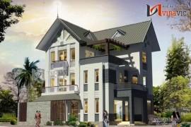 Mẫu thiết kế nhà biệt thự 3 tầng phong cách hiện đại BT1445
