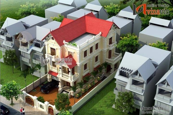 Biệt thự tân cổ điển 3 tầng 150m2 thiết kế tinh tế và sang trọng BT1456