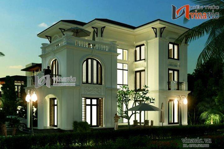 Biệt thự 3 tầng tân cổ điển đẹp kết hợp phong cách châu âu BT1470