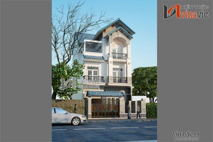 Mẫu thiết kế nhà biệt thự đẹp 3 tầng tân cổ điển BT1472