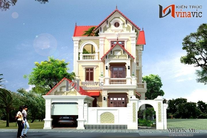 Biệt thự 3 tầng cổ điển sang trọng có gara ôtô và sân vườn rộng BT1475