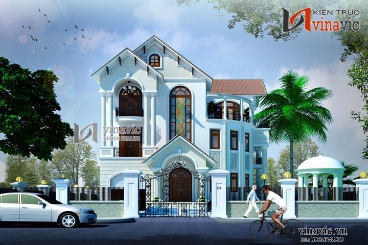 Mẫu thiết kế nhà biệt thự đẹp 3 tầng theo kiến trúc Pháp cổ BT1476