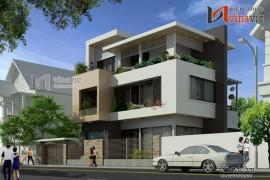 Mẫu thiết kế nhà biệt thự 3 tầng hình khối kiến trúc gọn gàng BT1480