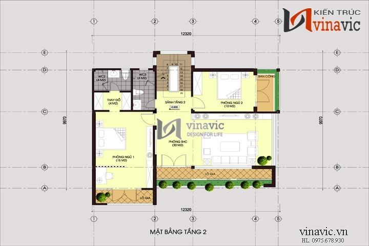Biệt thự 120m2 3 tầng thiết kế hiện đại hình khối kiến trúc gọn gàng BT1480