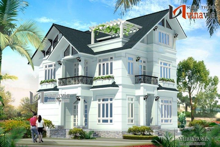 Mẫu thiết kế biệt thự đẹp 3 tầng đơn giản và tinh tế BT1481