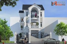 Mẫu thiết kế nhà đẹp 3 tầng trên nền màu sơn trắng tinh khôi BT1483