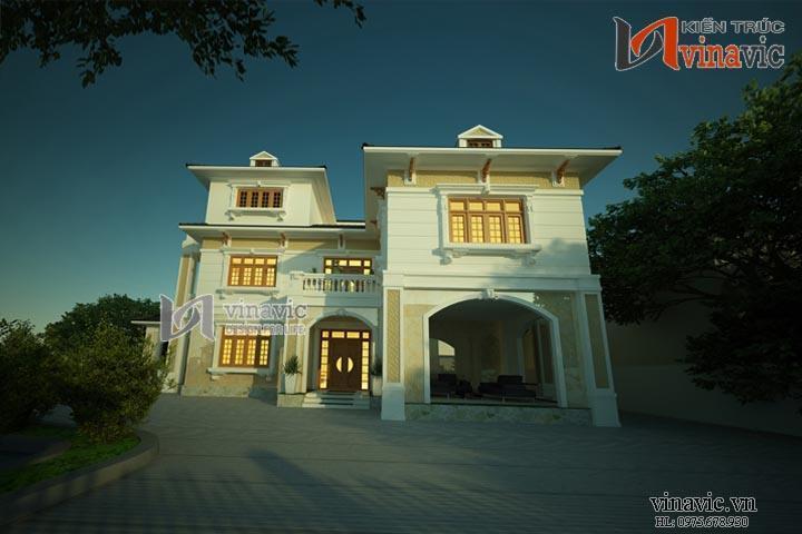 Mẫu thiết kế nhà biệt thự đẹp 3 tầng sang trọng và hiện đại BT1496