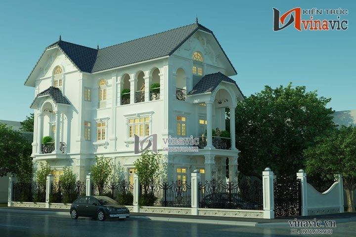 Mẫu thiết kế nhà biệt thự cổ điển 3 tầng đẹp như tranh vẽ BT1495