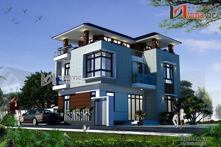 Mẫu nhà biệt thự 3 tầng thiết kế hình khối vững trãi và hiện đại BT1506