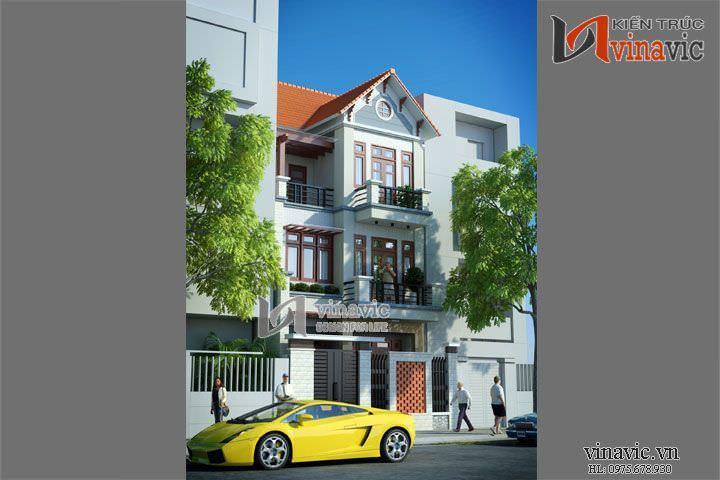 Thiết kế nhà phố 3 tầng 70m2 mặt tiền 7m 3 phòng ngủ BT1462