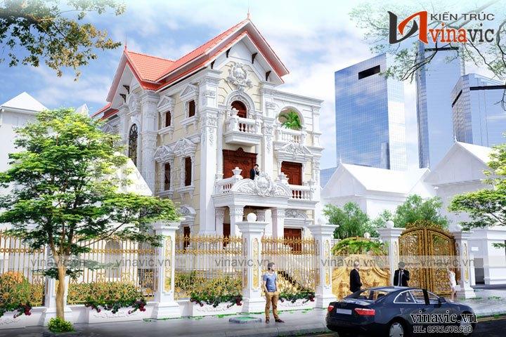 Biệt thự cổ điển Pháp 3 tầng 120m2 5 phòng ngủ sang trọng và đẳng cấpBT1640