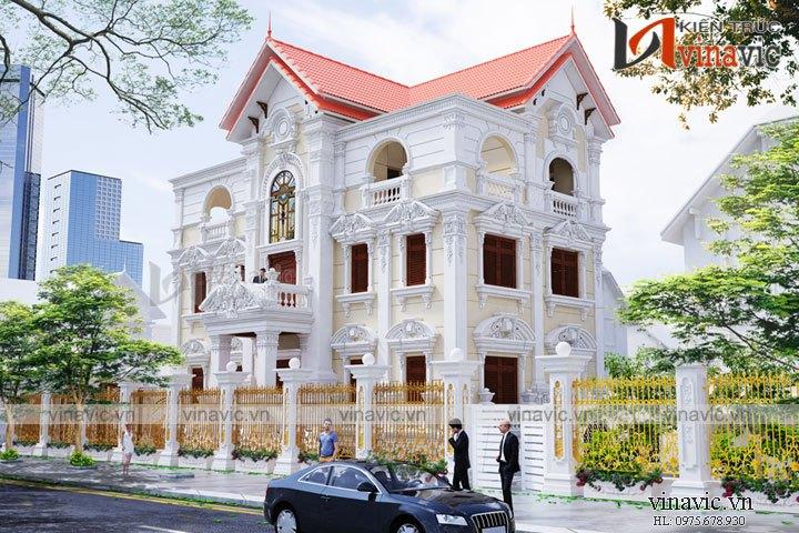 Mẫu nhà biệt thự cổ điển 4 tầng sang trọng và đẳng cấp BT1640