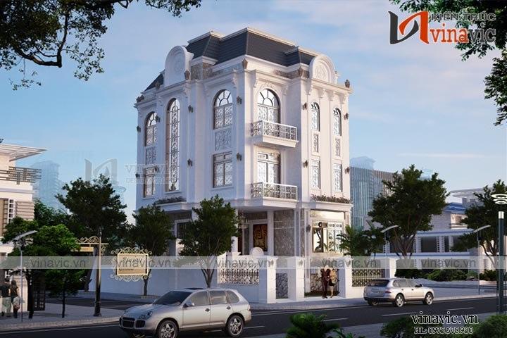 Mẫu nhà biệt thự 4 tầng phong cách tân cổ điển đẹp BT1641