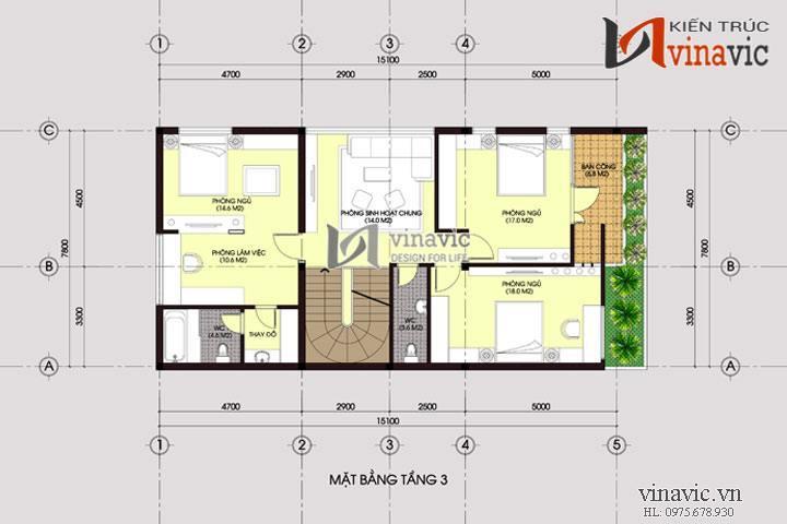 Mẫu thiết kế nhà biệt thự đẹp 4 tầng độc và lạ BT1440