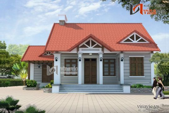 Thiết kế nhà 1 tầng diện tích 11mx16m 3 phòng ngủ ở Hòa Bình BT1413