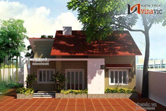 Bản vẻ thiết kế nhà 1 tầng 3 phòng ngủ diện tích 11x10m mặt tiền 11m BT1414