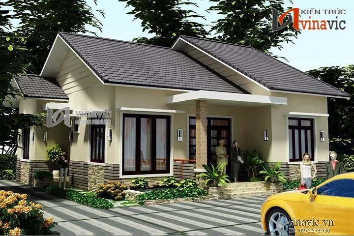 Mẫu thiết kế nhà mái thái 1 tầng diện tích 12x13m 3 phòng ngủ BT1446